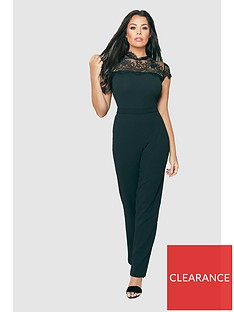 33d3022a145 Jessica Wright Madelina Lace Insert Straight Leg Jumpsuit - Black