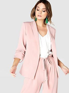 girls-on-film-34-ruched-sleeve-blazer