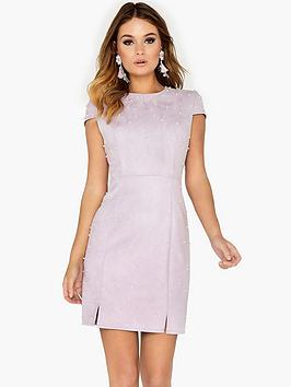 Girls On Film Pearl Embellished Suede Mini Dress - Lilac