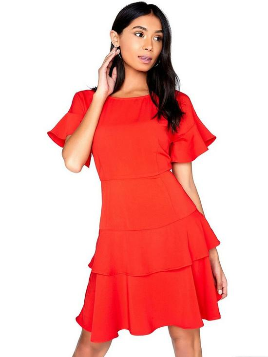 a69454e8 Girls on Film Tiered Ruffle Dress - Red | very.co.uk