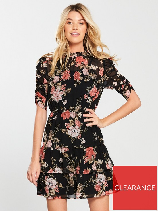 759942bb324f V by Very Ruched Sleeve Frill Tea Dress - Floral