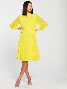 v-by-very-pussybow-midi-dress-yellow