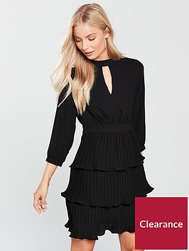 v-by-very-choker-pleated-tiered-dress-black