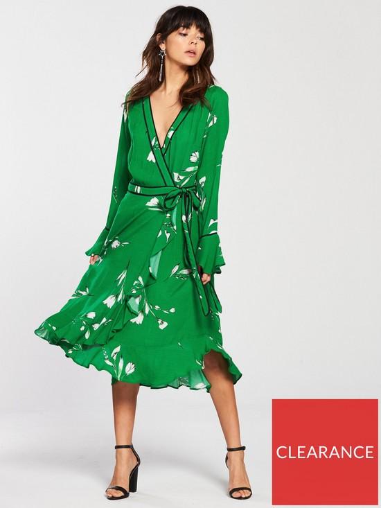 6b05910e6a V by Very Printed Wrap Dress - Green   very.co.uk