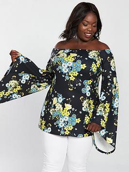 V By Very Curve Bardot Fluted Sleeve Tunic - Print