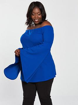 V By Very Curve Bardot Fluted Sleeve Tunic - Electric Blue