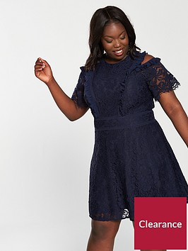 v-by-very-curve-lace-cold-shoulder-skater-dress-navy