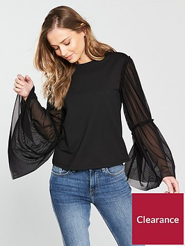 v-by-very-woven-sleeve-jersey-top-black