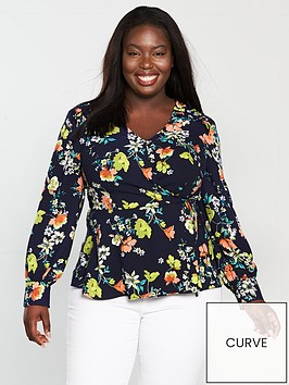 v-by-very-curve-printed-wrap-ruffle-shoulder-blouse-navy