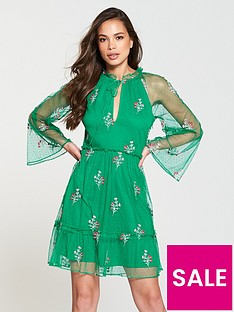 v-by-very-embroidered-dobby-dress-green