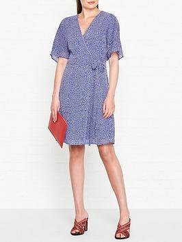 gestuz-clover-print-wrap-dress-blue
