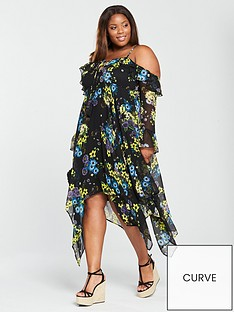 v-by-very-curve-cold-shoulder-hanky-hem-dress-print