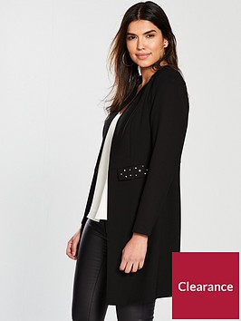 v-by-very-longline-studded-detail-jacket-black