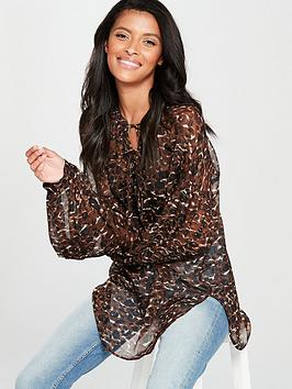 V By Very Animal Poet Blouse - Leopard Print