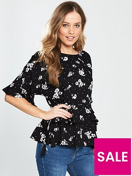 v-by-very-drawstring-waist-tiered-top-mono-print