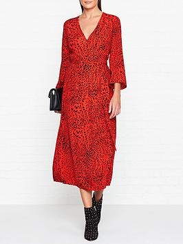 gestuz-loui-leopard-print-wrap-dress-red