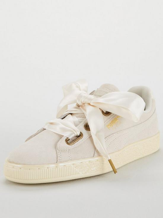 separation shoes 39969 e6fb4 Suede Heart Satin - White