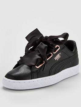 Puma Basket Heart Leather Trainer - Black