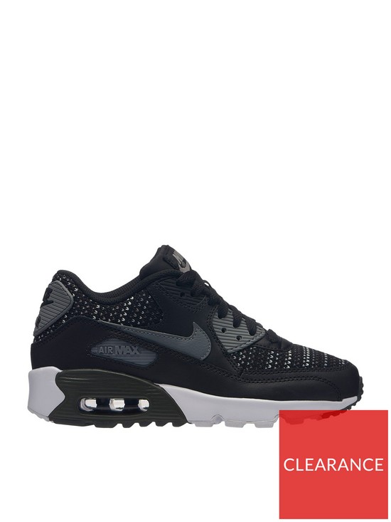 dc94a0674a Nike Air Max 90 Mesh SE Junior Trainers - Black/Grey | very.co.uk