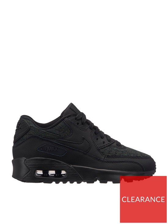 watch d59d9 1a26a Nike Air Max 90 Mesh SE Junior Trainers - Black