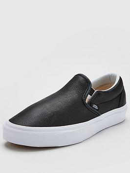 Vans Classic Leather Slip On - Black