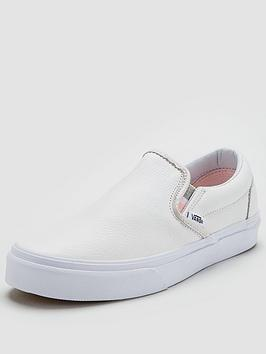 Vans Classic Leather Slip On - White