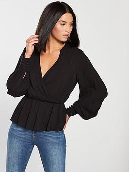 v-by-very-wrap-top-black