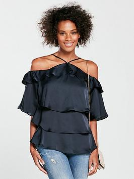 v-by-very-tiered-halter-neck-top-navy
