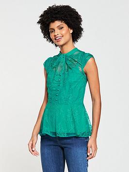 v-by-very-lace-twist-neck-top-green