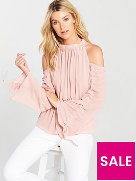 v-by-very-ruched-sleeve-cold-shoulder-top-blush