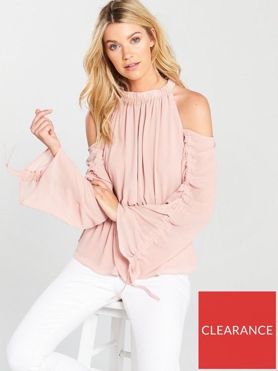 af6d666e4d0 V by Very Ruched Sleeve Cold Shoulder Top - Blush | very.co.uk