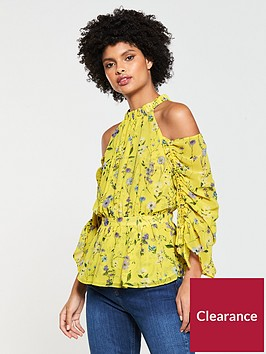 v-by-very-ruched-sleeve-cold-shoulder-top-yellow