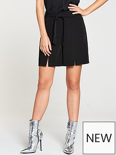 v-by-very-split-detail-belted-short-black