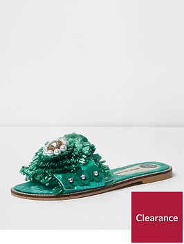 river-island-flower-bead-sandal--green