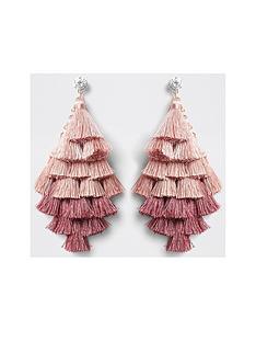 river-island-layered-tassel-drop-earrings-pink