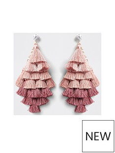 river-island-layered-tassel-drop-earrings-pink