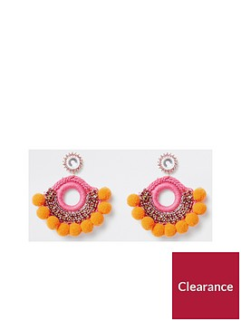 river-island-river-island-pom-diamonte-stud-drop-earrings--orange