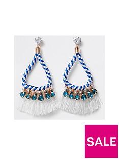 river-island-twist-rope-tassel-drop-earrings-bluewhite