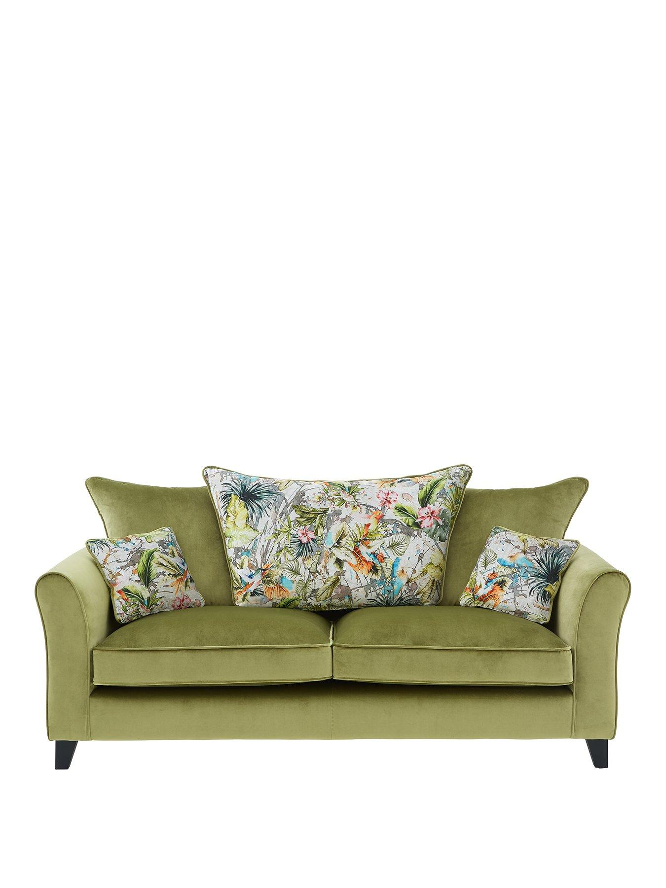 Eden Fabric 3 Seater Scatter Back Sofa
