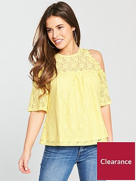 v-by-very-petite-cold-shoulder-lace-top-yellow