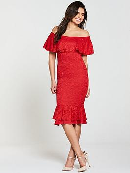 Photo of V by very bardot peplum hem lace bodycon - red/blush