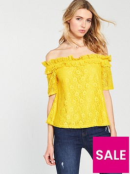 v-by-very-bardot-lace-top-yellow