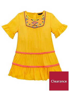 mini-v-by-very-girls-yellow-embroidered-pom-pom-detail-dress