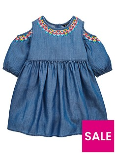 mini-v-by-very-girls-embroidered-tencel-cold-shoulder-dress