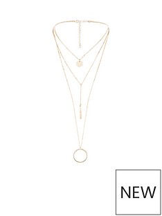 v-by-very-aliyah-circle-disc-layered-necklace-rose-gold