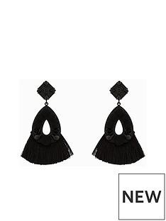 v-by-very-aria-mixed-media-tassel-earrings-black