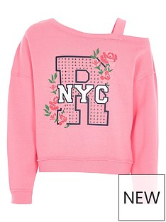 river-island-girls-pink-quotnycquot-diamante-one-shoulder-sweat-top