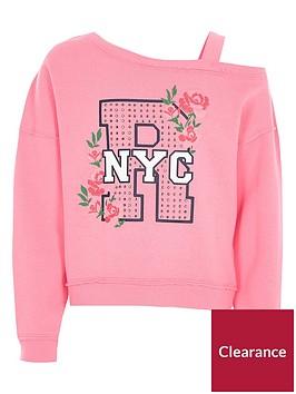 river-island-girls-pink-quotnycquot-diamante-one-shoulder-sweat-top