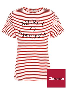 river-island-girls-red-stripe-lsquomercirsquo-print-t-shirt