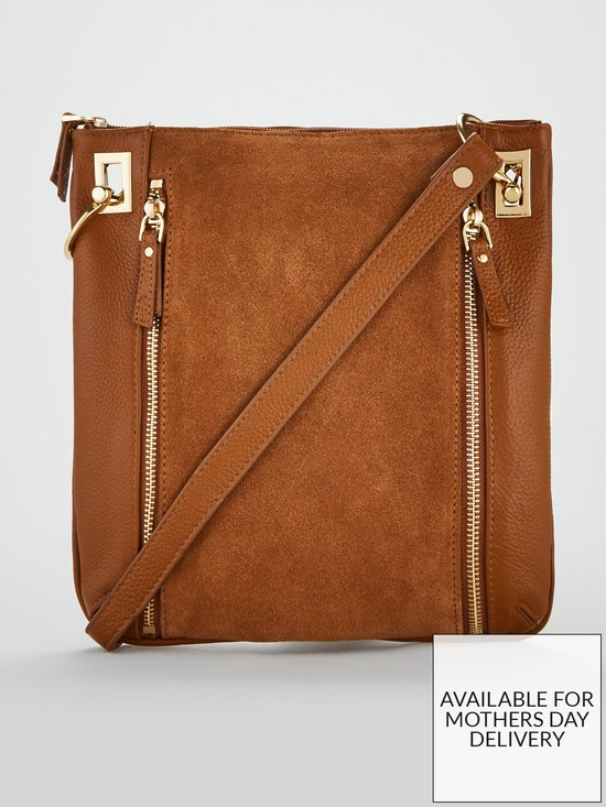 V by Very Bayley Leather Zip Detail Cross-Body Bag - Tan  cfd6ca248fc7a